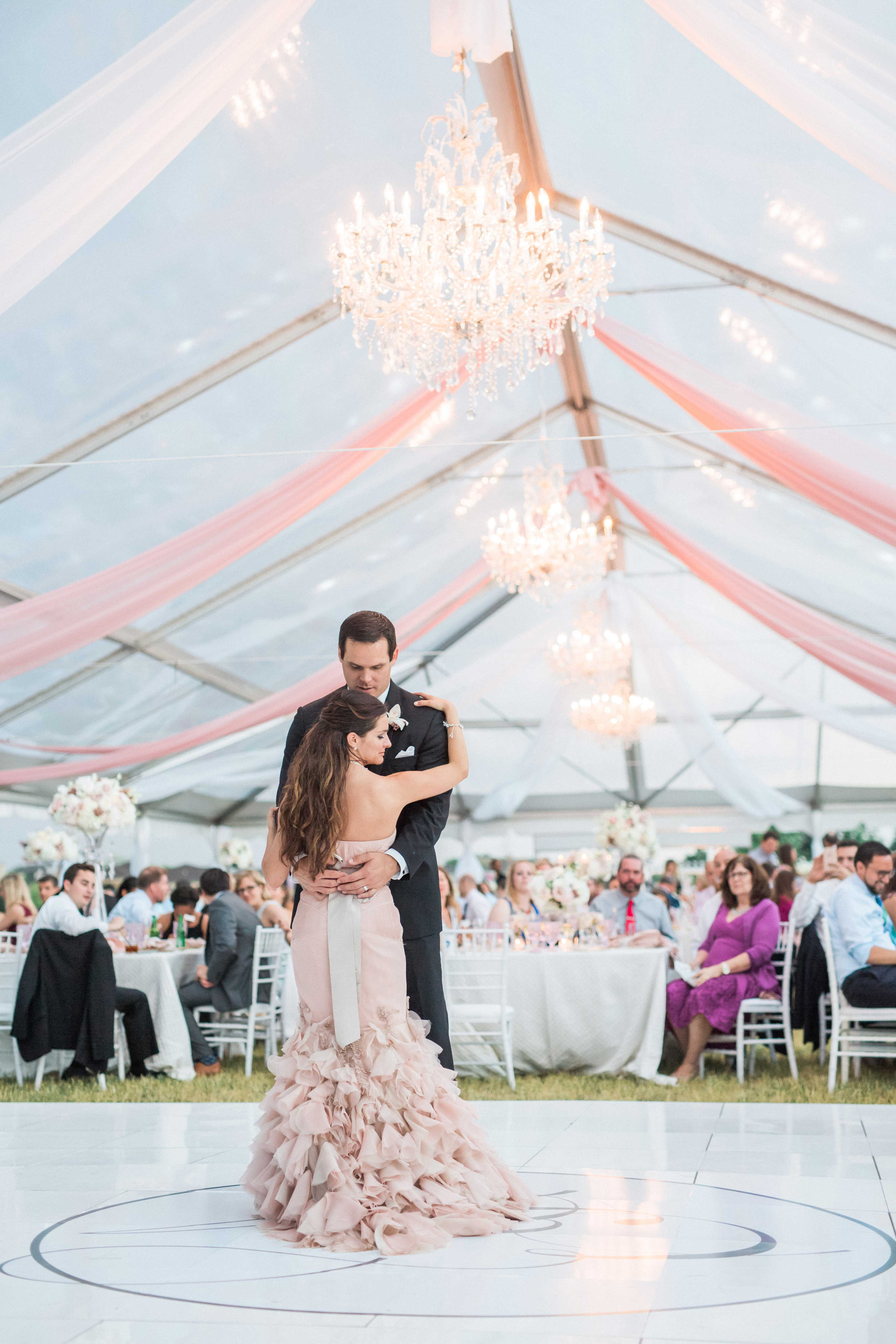 Pink bridal gown wedding dress first dance floor outdoor wedding reception