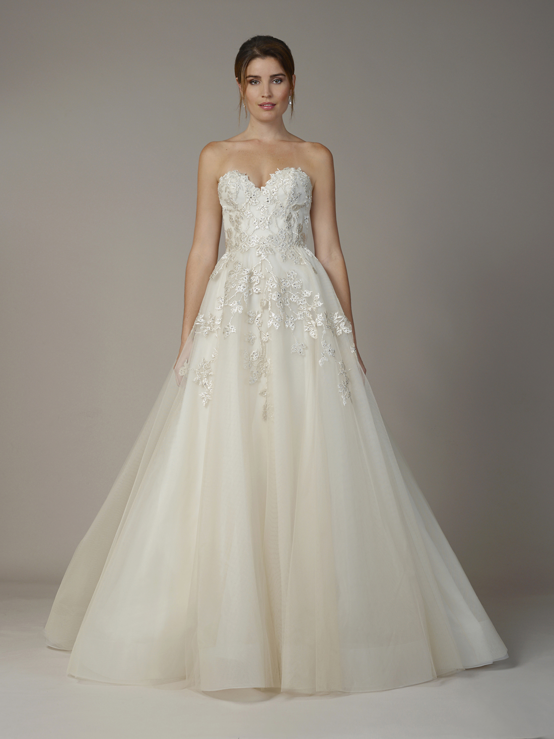 Champagne colored bridal gown Liancarlo sweetheart neckline