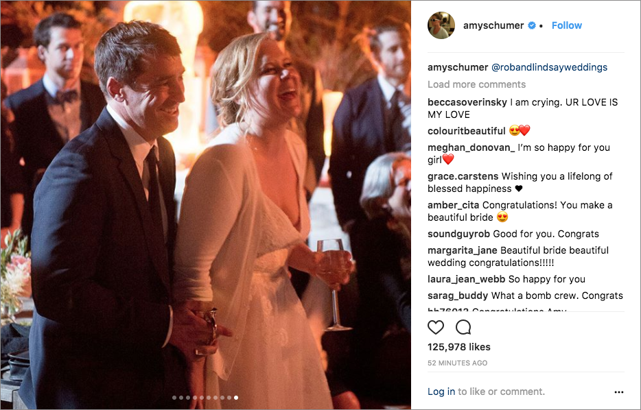 amy schumer chris fischer wedding in malibu monique lhulillier dress, jake gyllenhaal wedding guest