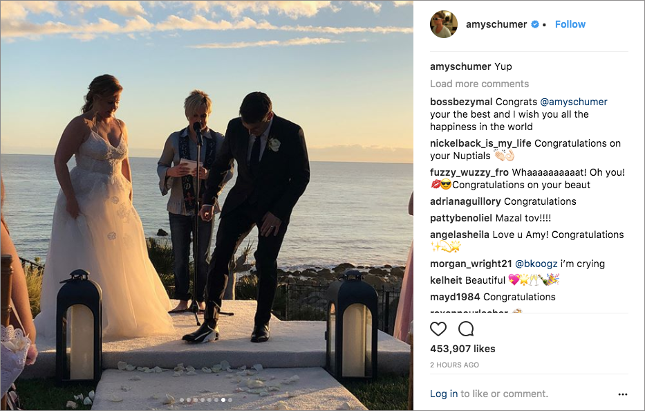 amy schumer chris fischer wedding in malibu monique lhulillier dress, breaking of the glass, john early officiates as vicky