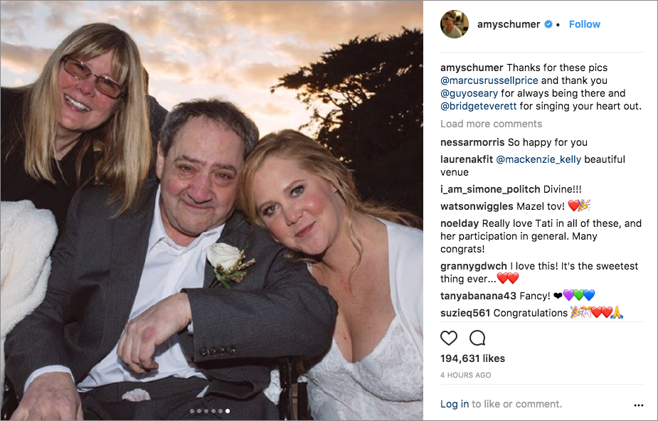 amy schumer chris fischer wedding in malibu, amy schumer with family