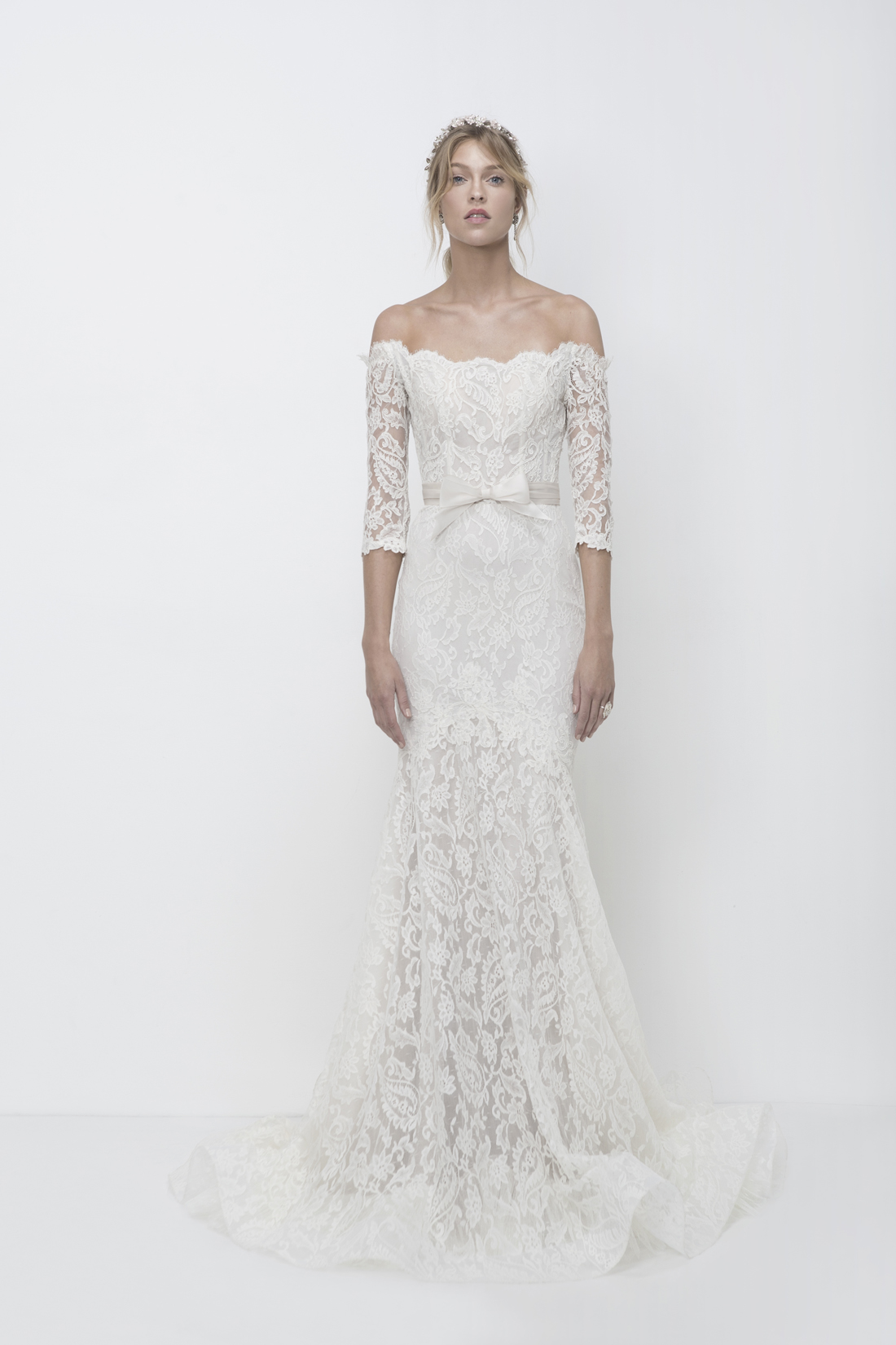 Vanessa lace off the shoulder wedding dress with bow Lihi Hod 50 shades of grey fifty shades freed wedding gown get the look