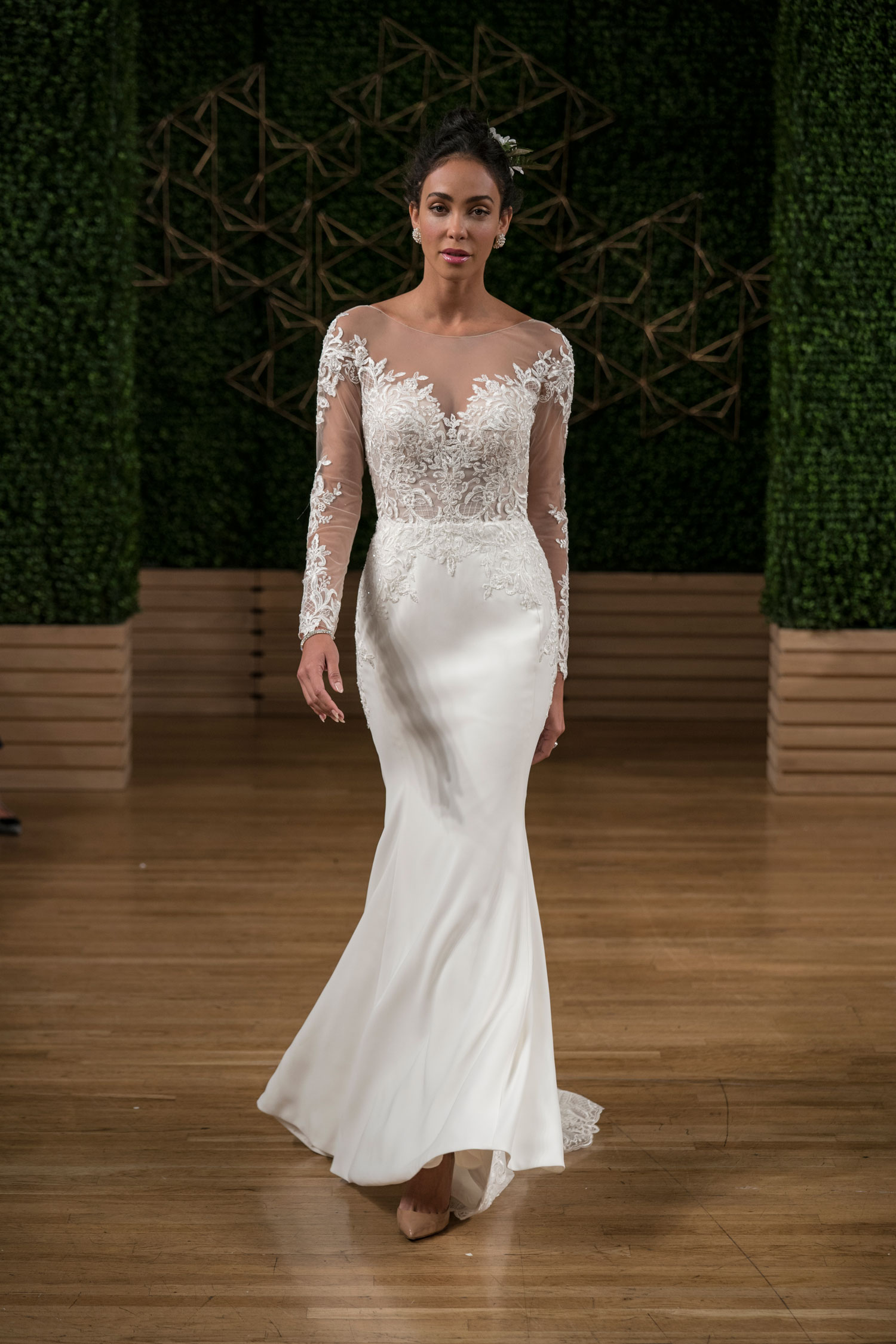 Illusion off the shoulder sheer long sleeve lace wedding dress 50 shades of grey fifty shades freed get the look