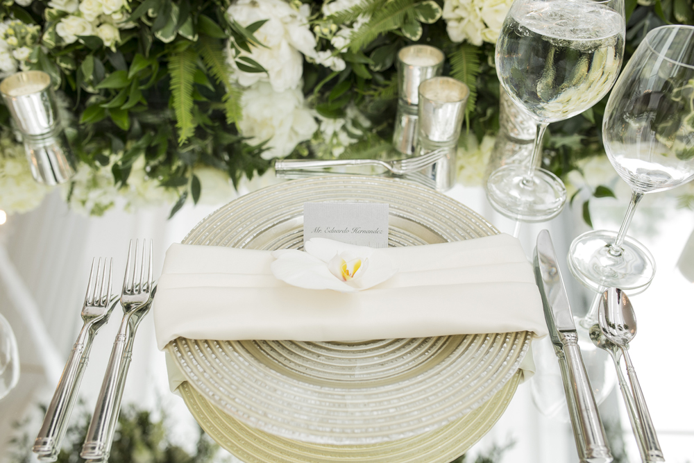 Place setting at wedding reception table with mirror top reception ideas