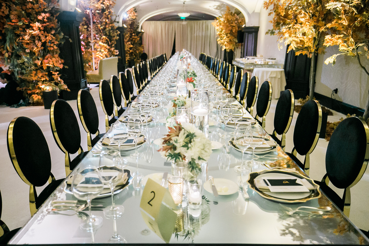 Mirror long wedding table no linens wedding reception anniversary party ideas