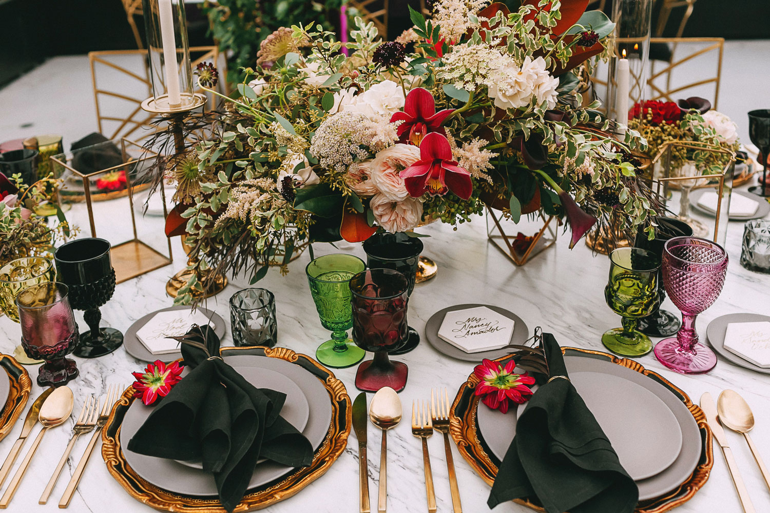 Wedding reception table marble no linens fall inspired centerpieces