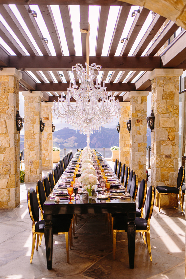 Black lacquer and gold wedding reception table outdoor terrace malibu reception