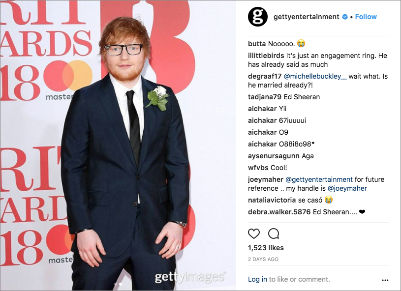 ed sheeran at brit awards, ed sheeran engagement ring from cherry seaborn
