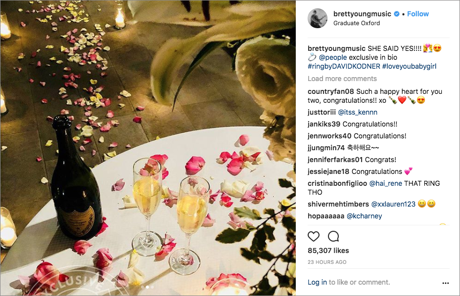 brett young proposal story, brett young and taylor mills engaged