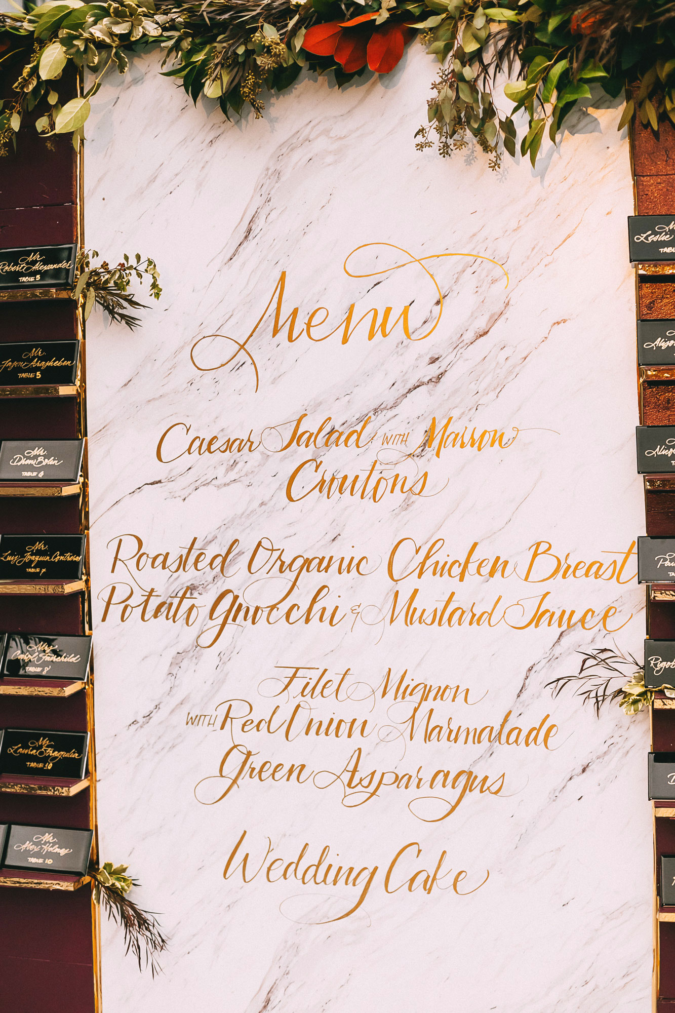 Wedding menu design on wall outdoor wedding