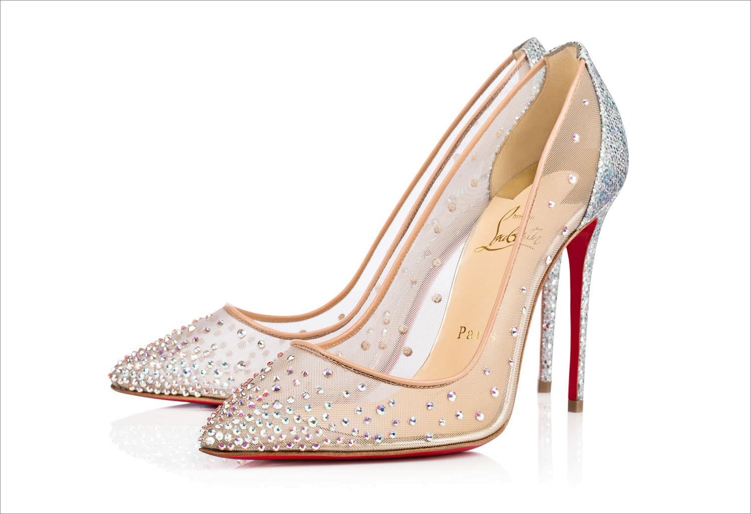 Christian Louboutin follies mesh pumps crystal rhinestones red bottom sole popular wedding heels