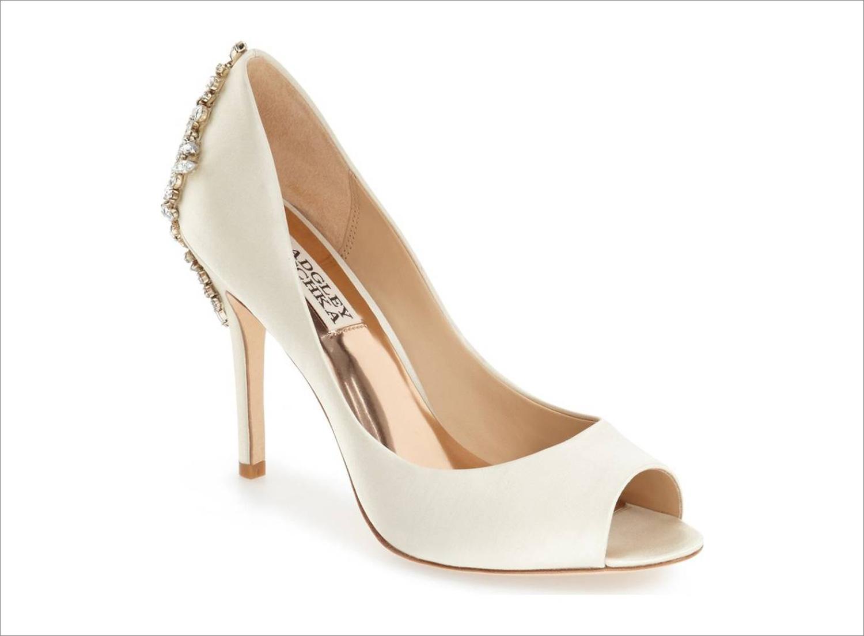 Peep toe satin badgley mischka wedding shoes popular ivory crystal back on heel