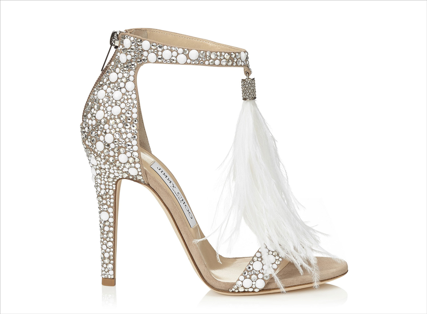 Voila 110 crystal wedding heels with ostrich feather tassel jimmy choo popular wedding shoes