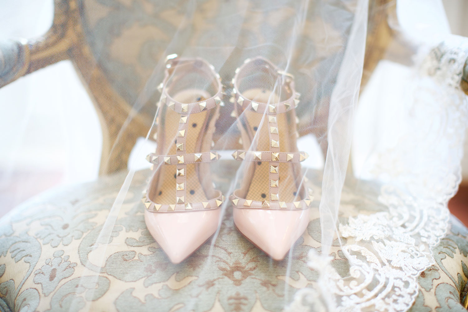 Light pink wedding shoes with studs valentino heels popular wedding shoes