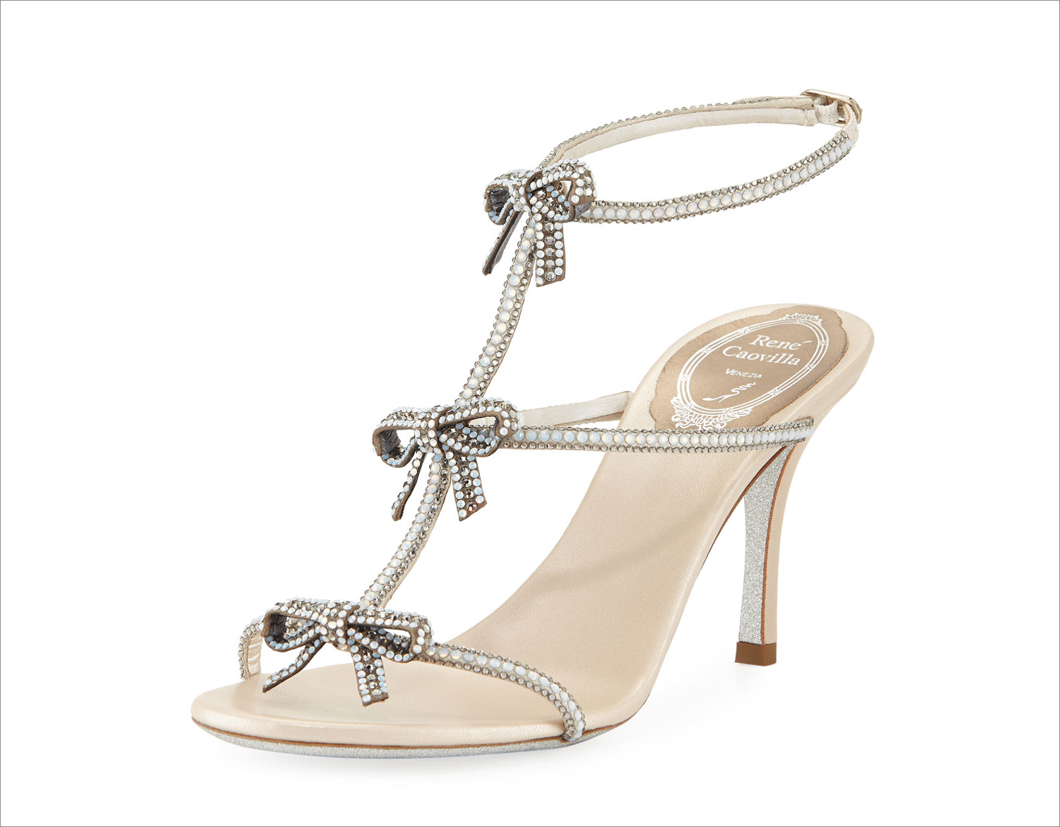 Rene Caovilla wedding shoes bow embellished sandal crystals popular wedding heel ideas