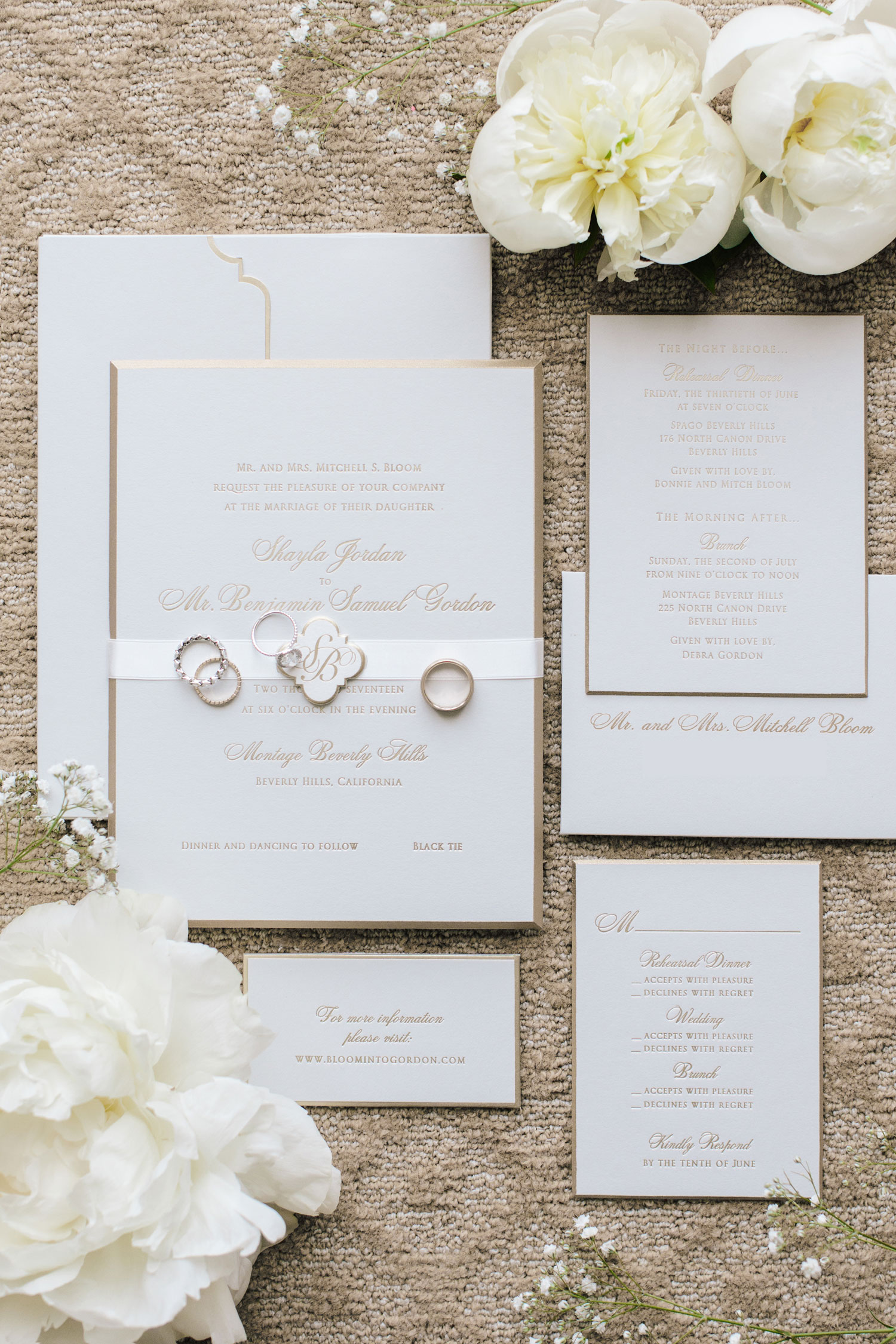 Simple white and gold invitation suite geller events lehr and black inside weddings spring 2018 issue