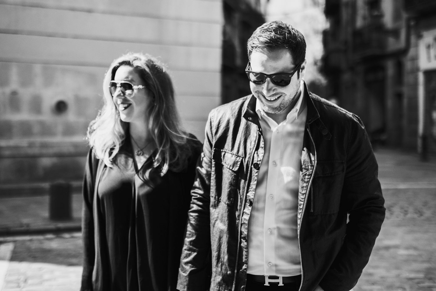 Michelle Durpetti and Collin Pierson engagement photos in Barcelona, Spain black and white photo