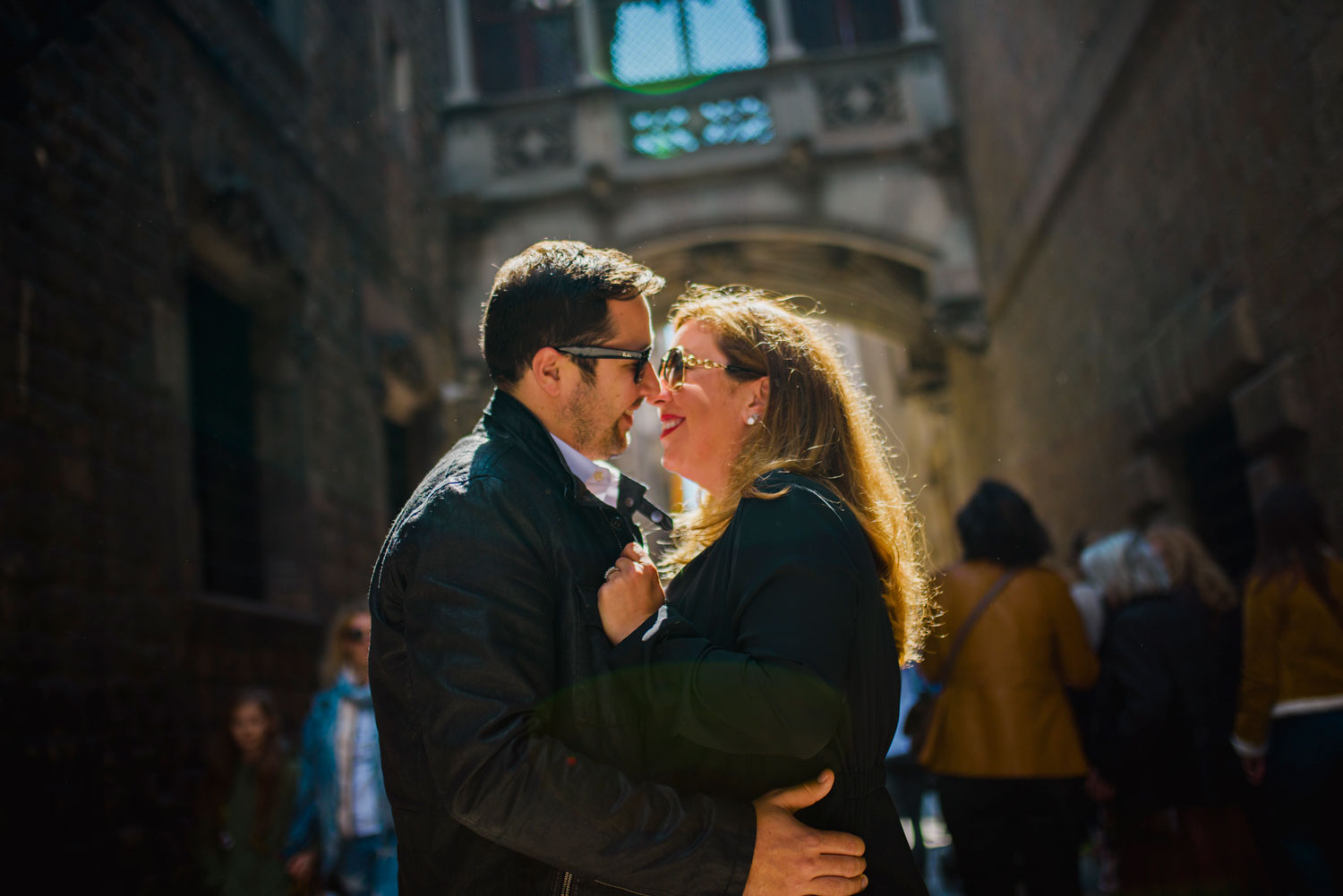 Michelle Durpetti and Collin Pierson engagement photos in Barcelona, Spain smiling