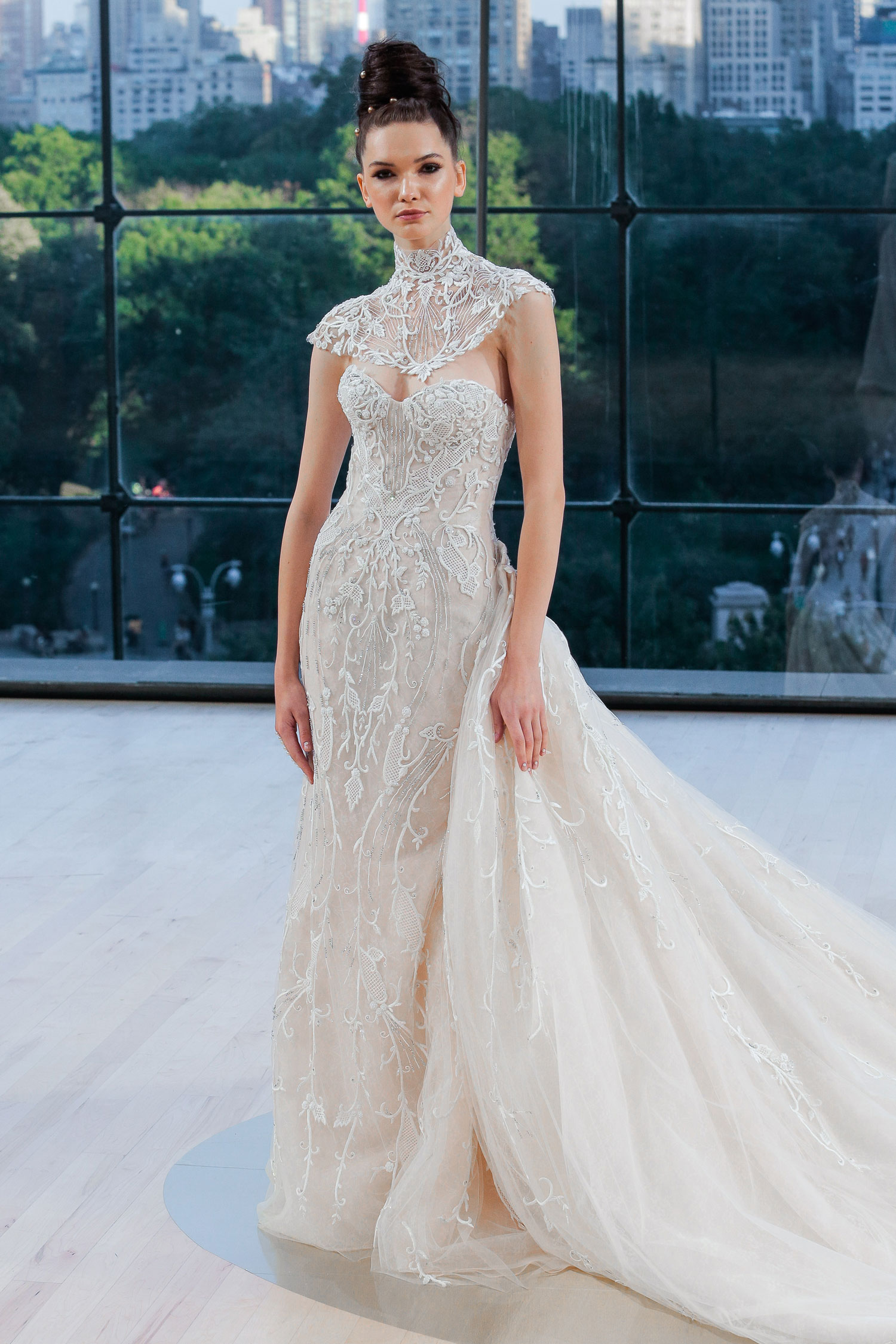 carnegie ines di santo wedding dress sheath with intricate embroidery and orverskirt