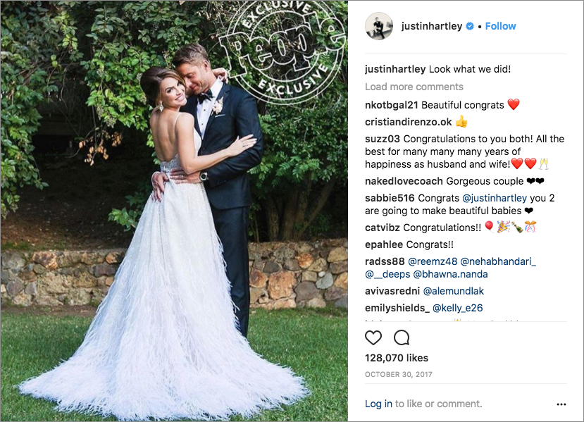 this is us, justin hartley and chrishell stuase monique lhuillier feathered wedding dress