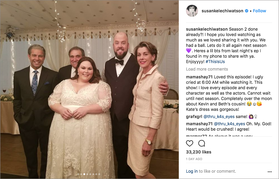 this is us kate and toby's wedding, wendie malick, dan lauria, chrissy metz, chris sullivan, jon huertas