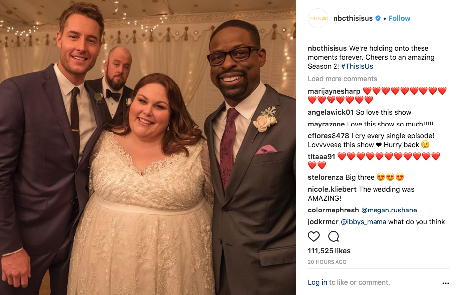 this is us the big three, kevin kate and randall pearson, kate and toby's wedding, chrissy metz, justin hartley, sterling k. brown, chris sullivan