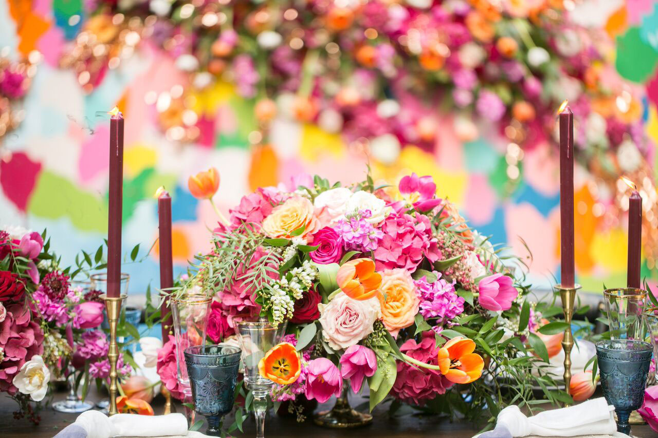 Wedding planning tips reception tablescape colorful wedding flowers