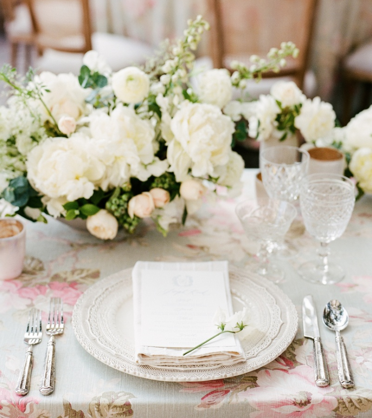 Pretty wedding flower print table linen santa monica