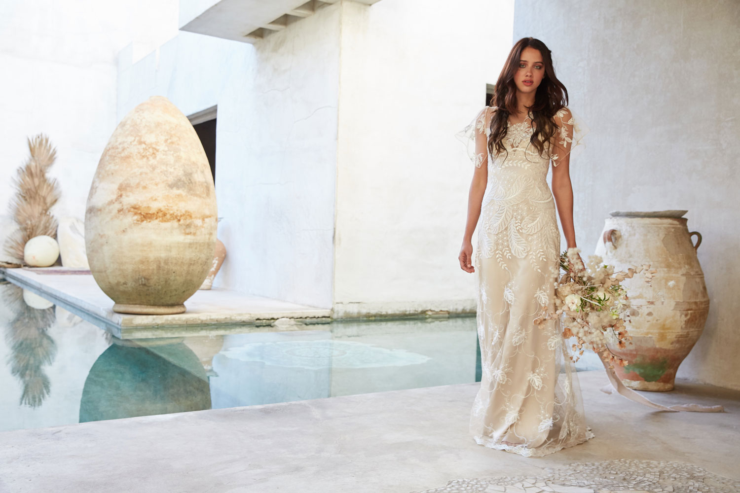 Claire Pettibone Vagabond Collection Seychelles wedding dress flutter sleeve