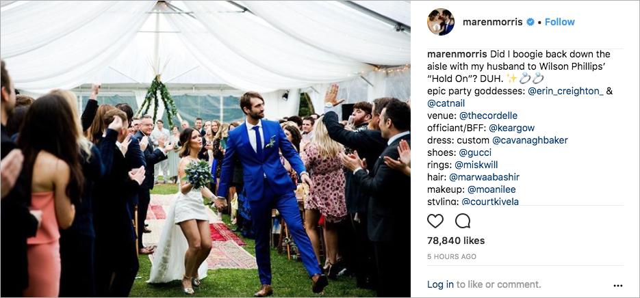 maren morris and ryan hurd wedding picture, celebrity wedding, celebrity brides in short dresses, boho-chic wedding inspiration