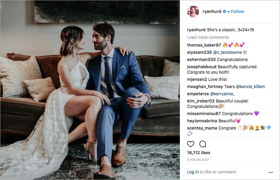 maren morris and ryan hurd wedding portrait, celebrity wedding, country star wedding