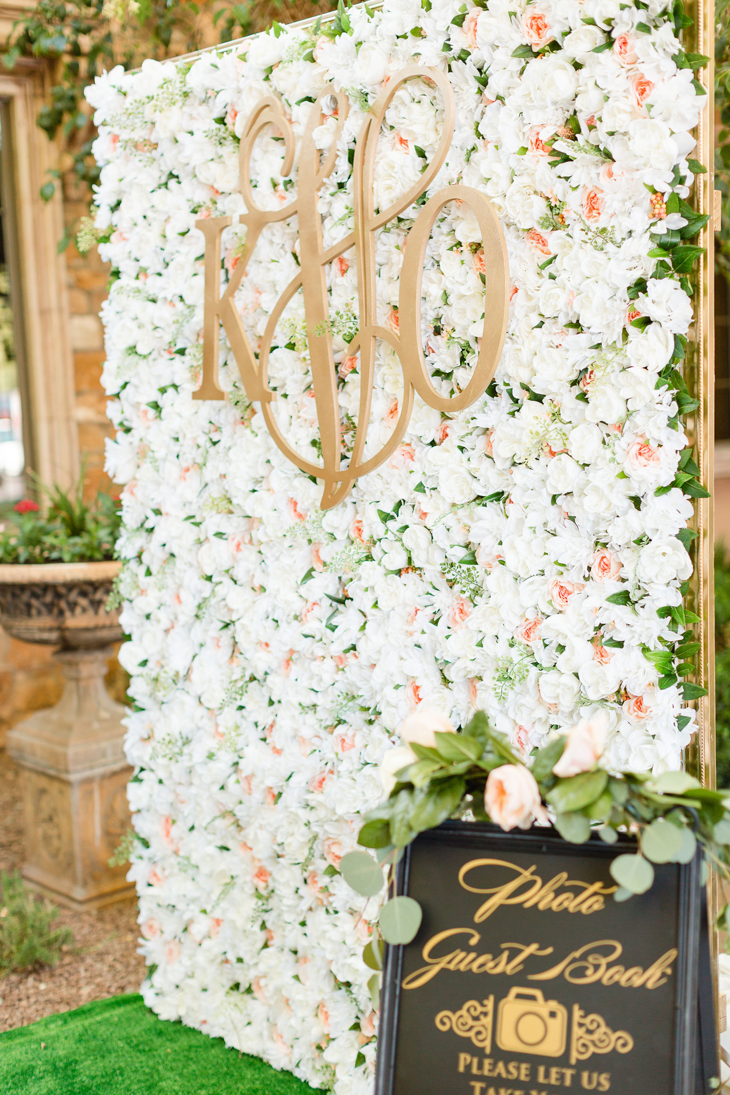 Flower wall with monogram photo booth outdoor wedding guest book ideas and alternatives