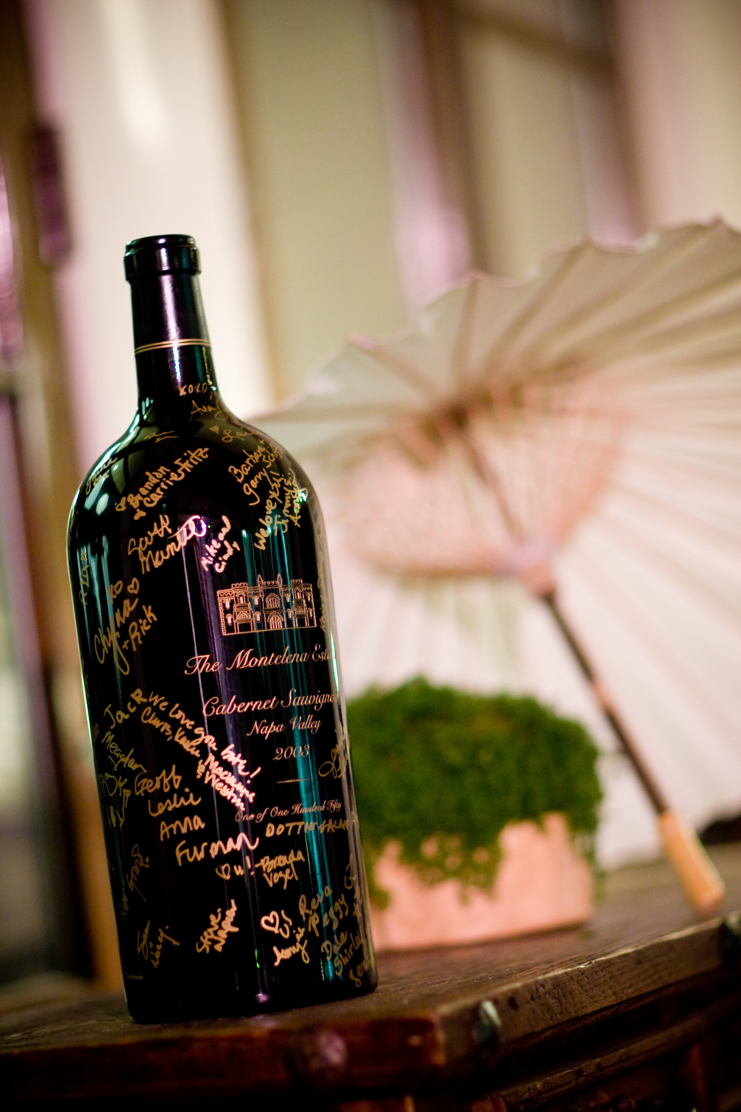 Wedding guest book alternative wine bottle large guest signatures