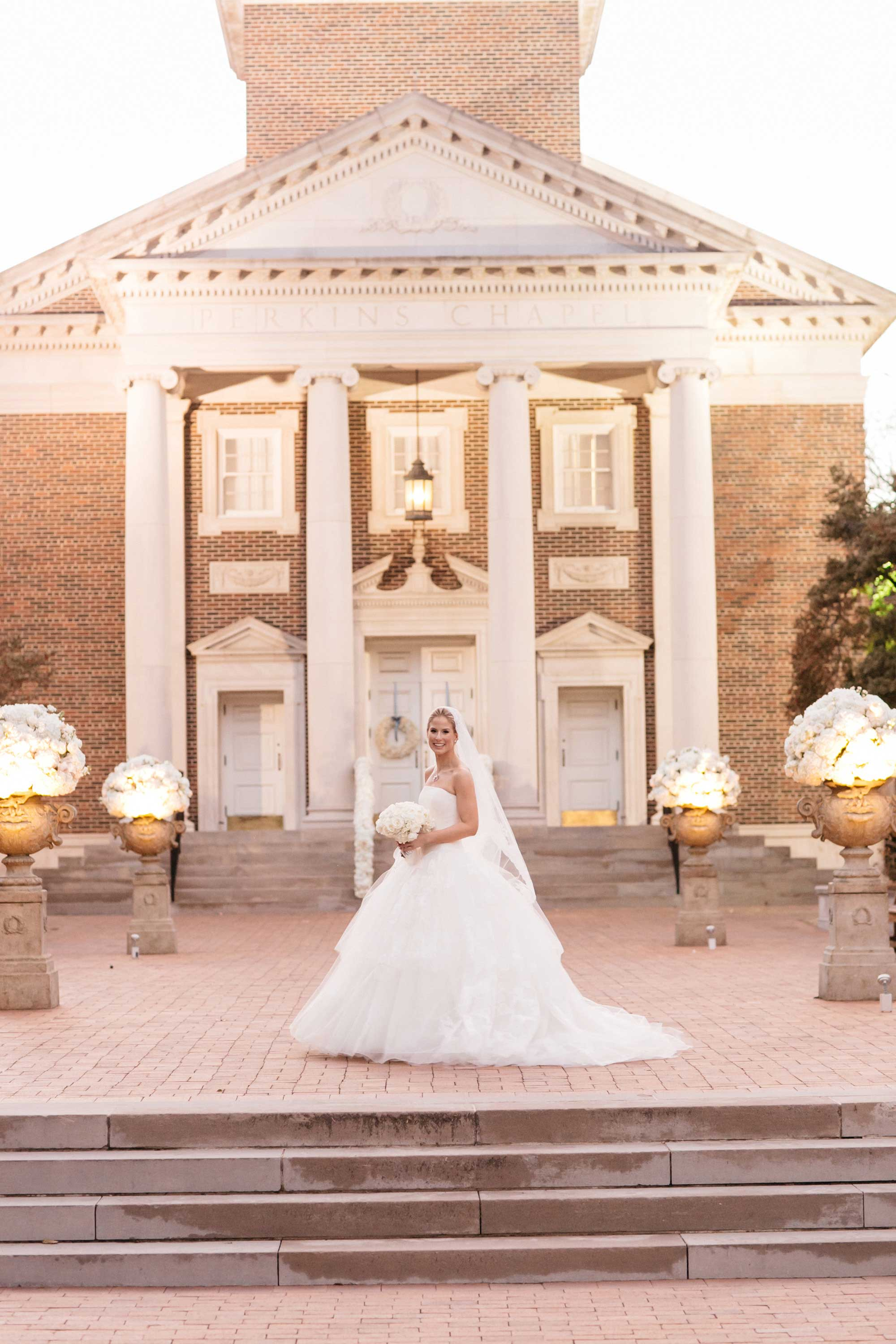 Bride in front of church wedding southern karlisch photography