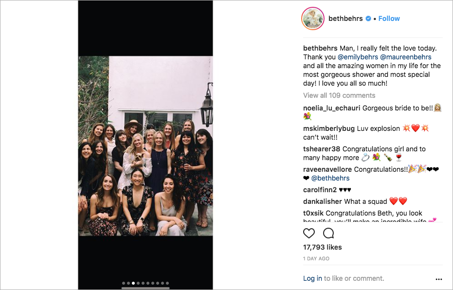 beth behrs bridal shower with kat dennings and christina hendricks, beth behrs and michael gladis