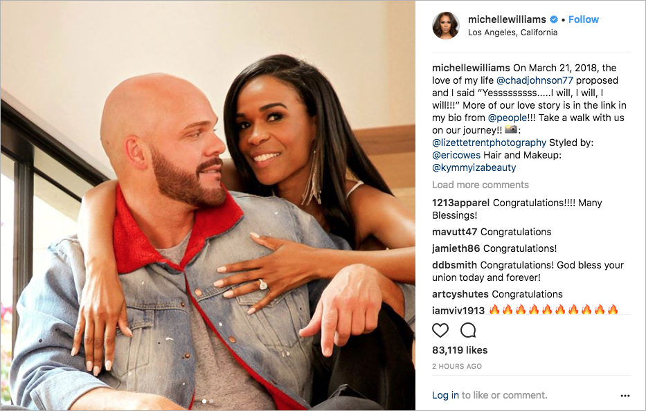 Michelle Williams destiny's child singer with fiance chad johnson engagement ring