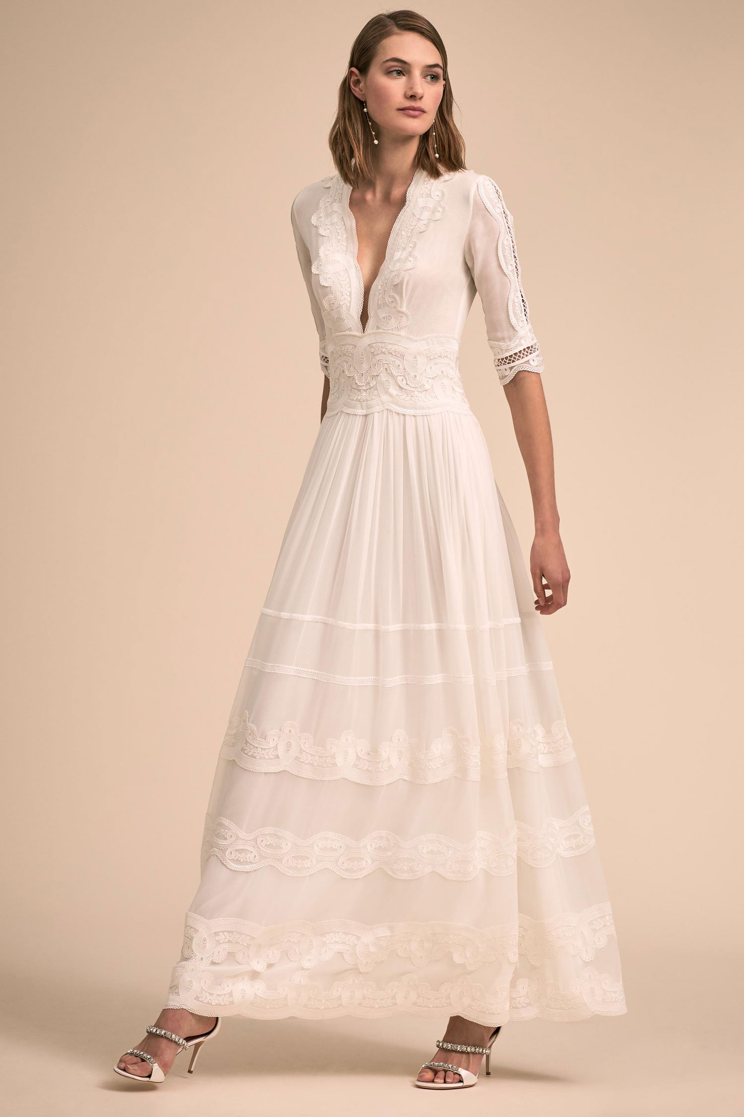 1f3de32b1e3 BHLDN The Designer Collective Annalisa by Costarellos wedding dress lace  plunging neck three quarter sleeves ""