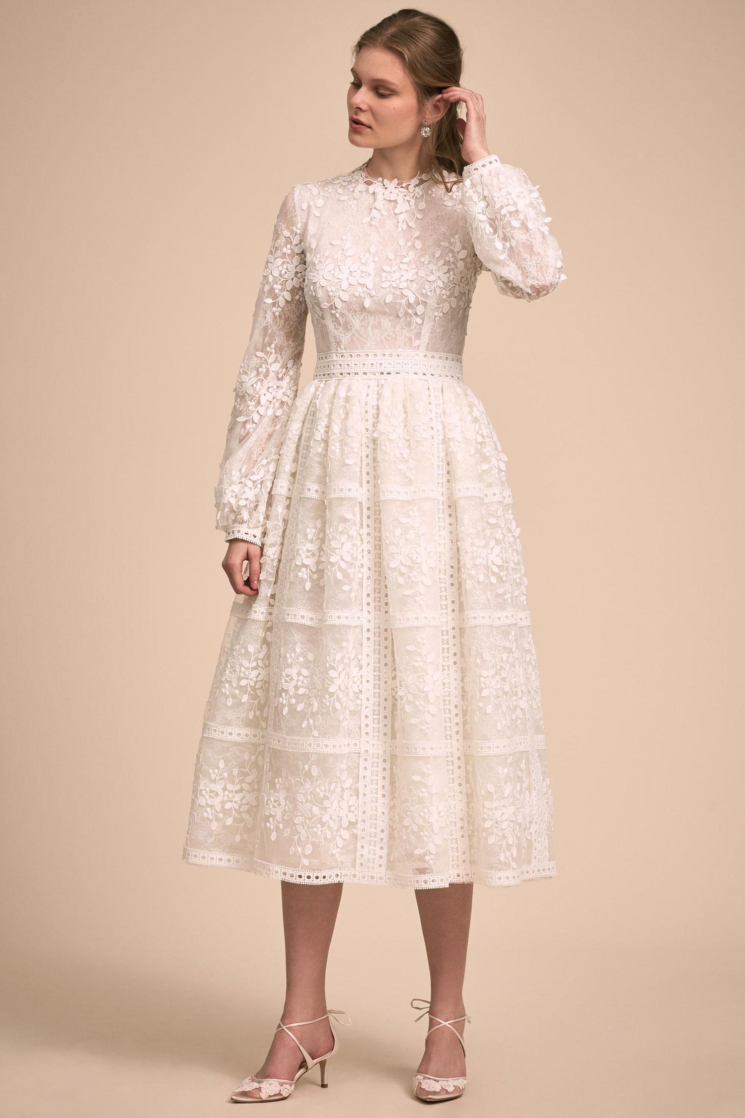 BHLDN The Designer Collective Shaw by Costarellos long sleeve tea length wedding dress
