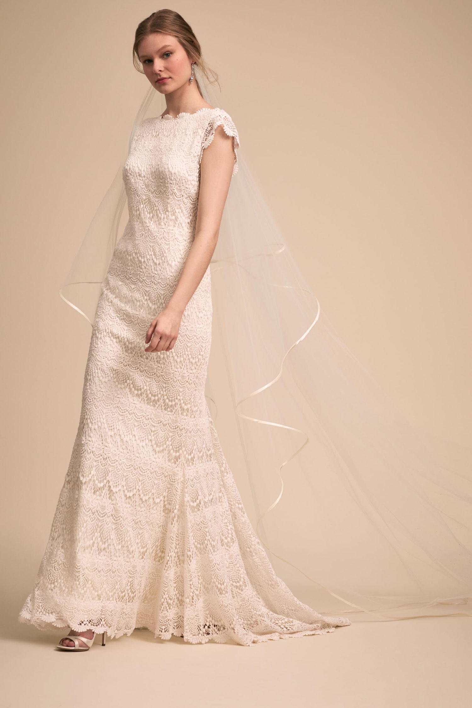 BHLDN The Designer Collective Piper by Daughters of Simone high neck lace wedding dress