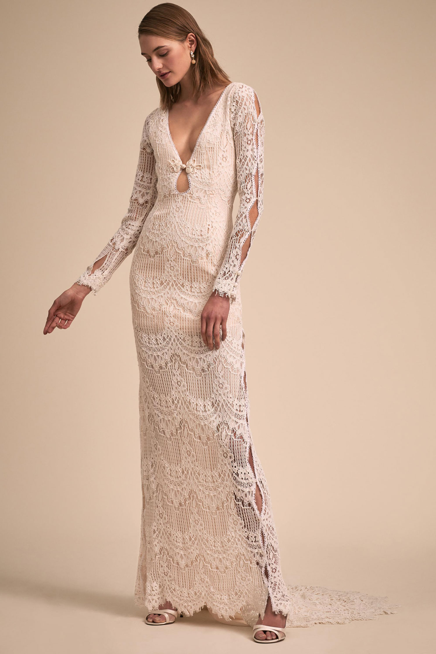 BHLDN The Designer Collective long sleeve lace wedding dress Abbott by Daughters of Simone