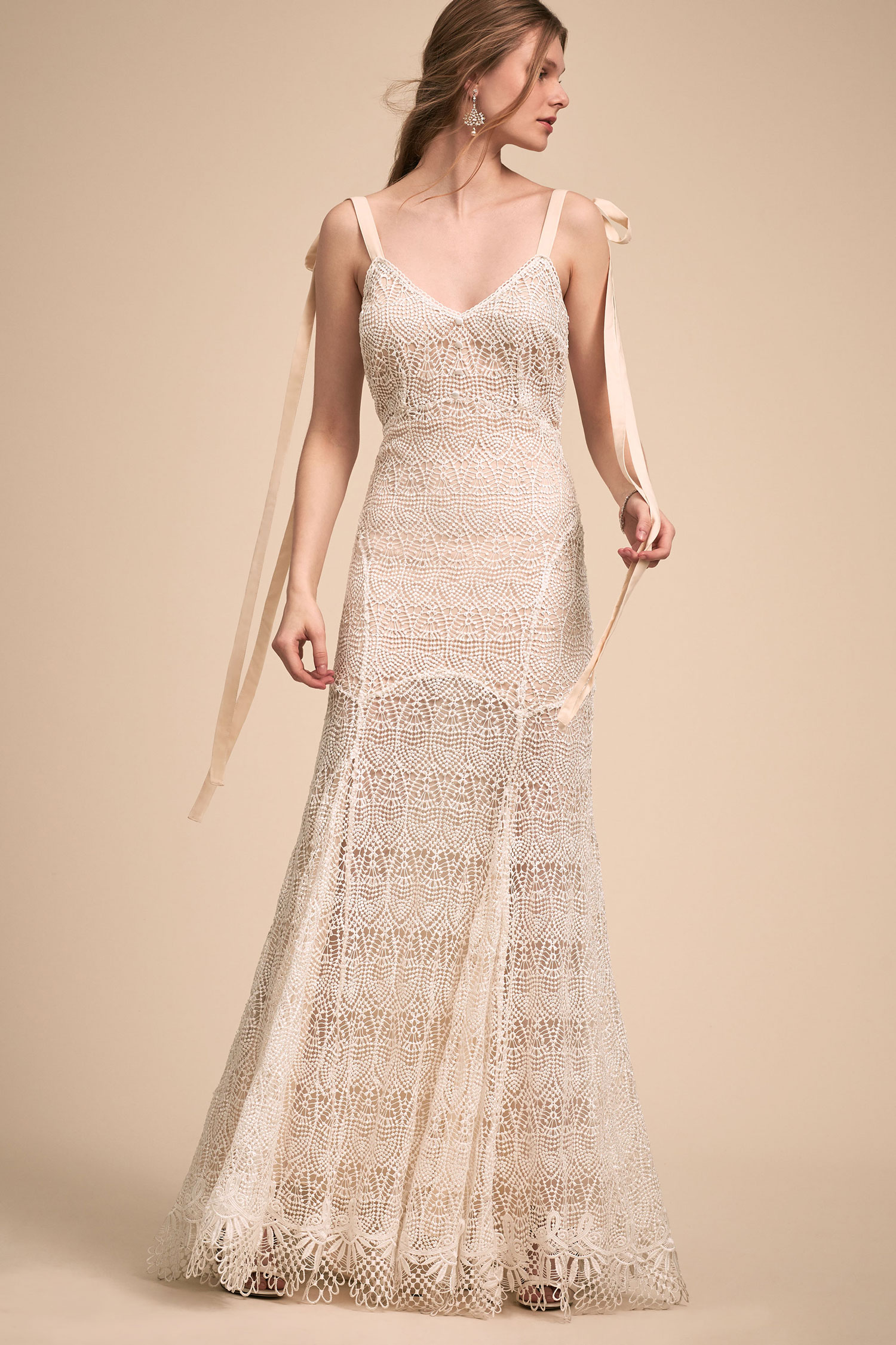 BHLDN The Designer Collective Amira by Daughters of Simone boho lace wedding dress ribbons