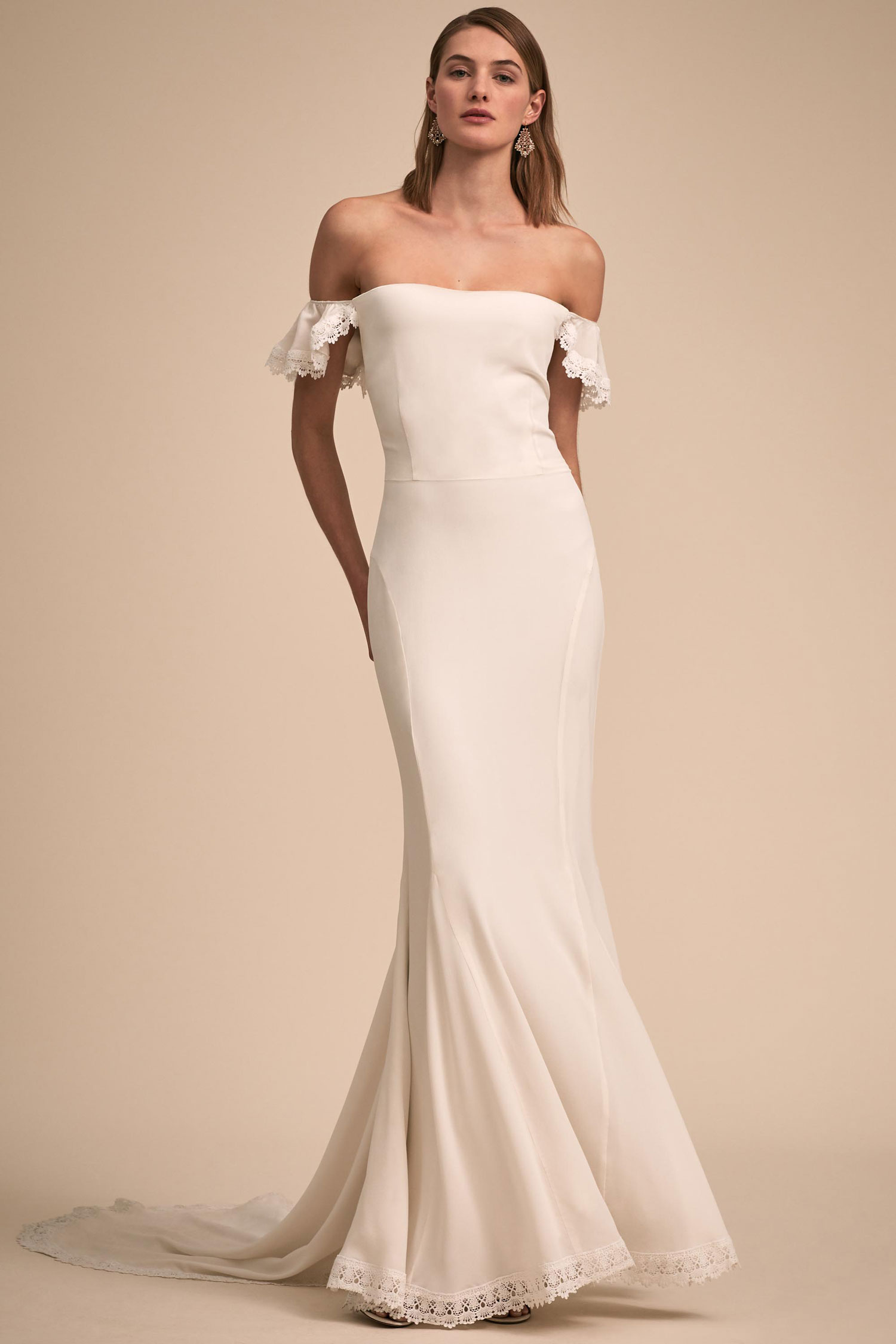 BHLDN The Designer Collective Kemp by Daughters of Simone off shoulder wedding dress lace hem