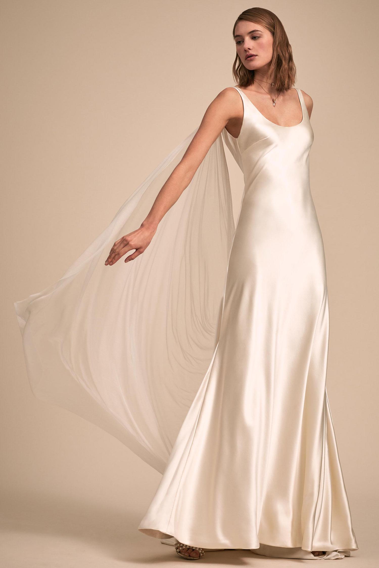 BHLDN The Designer Collective Kerry by Johanna Johnson silk wedding dress scoop neck