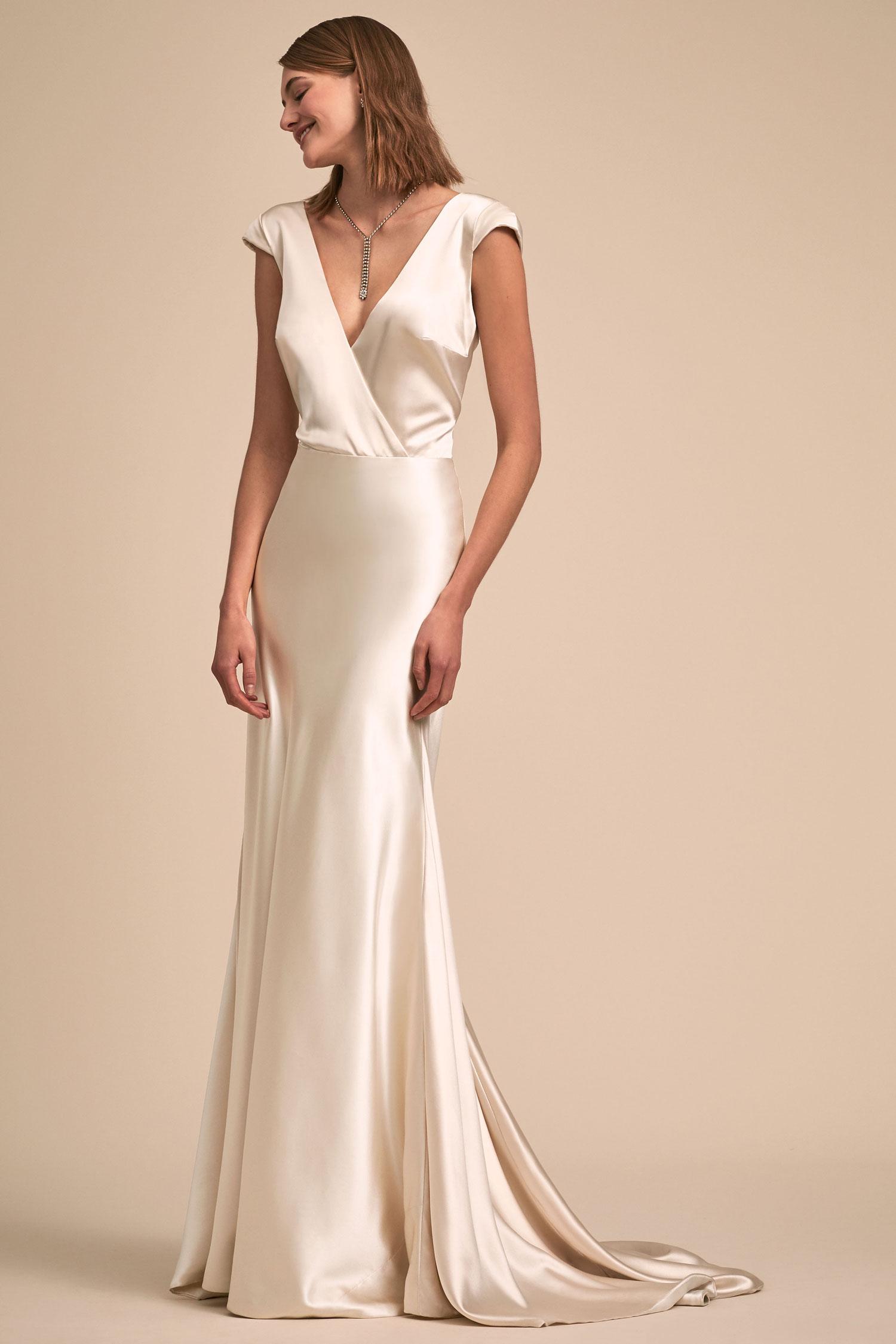 BHLDN The Designer Collective Nevis by Johanna Johnson silk wedding dress cap sleeves