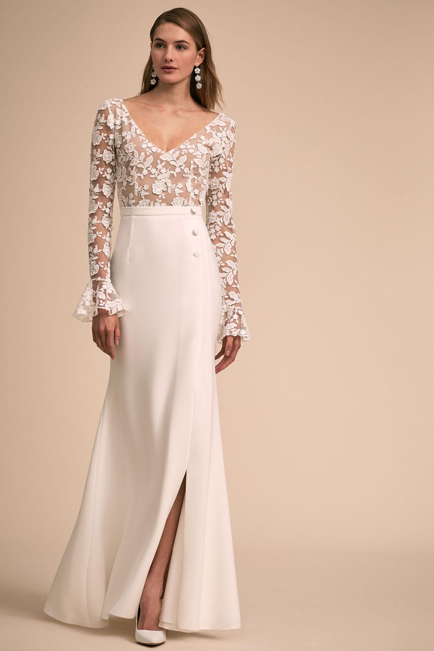 BHLDN The Designer Collective Haley by Rime Arodaky long sleeve lace bodice sleek skirt