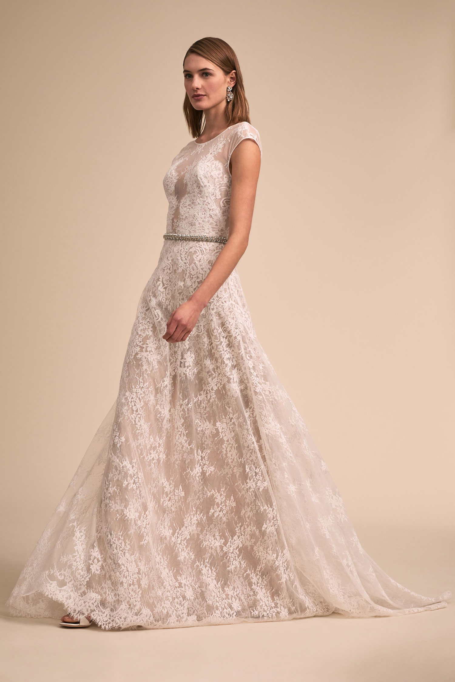 BHLDN The Designer Collective Felicia lace gown by THEIA cap sleeves illusion bodice