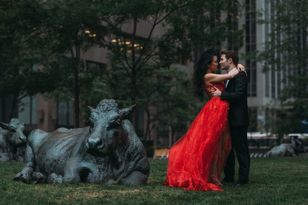 Bride and groom engagement photo shoot red dress financial district in toronto