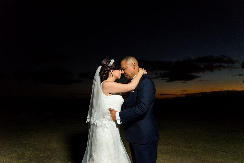 Bride and groom dark night wedding portrait puerto rico wedding after hurricane maria first hotel wedding