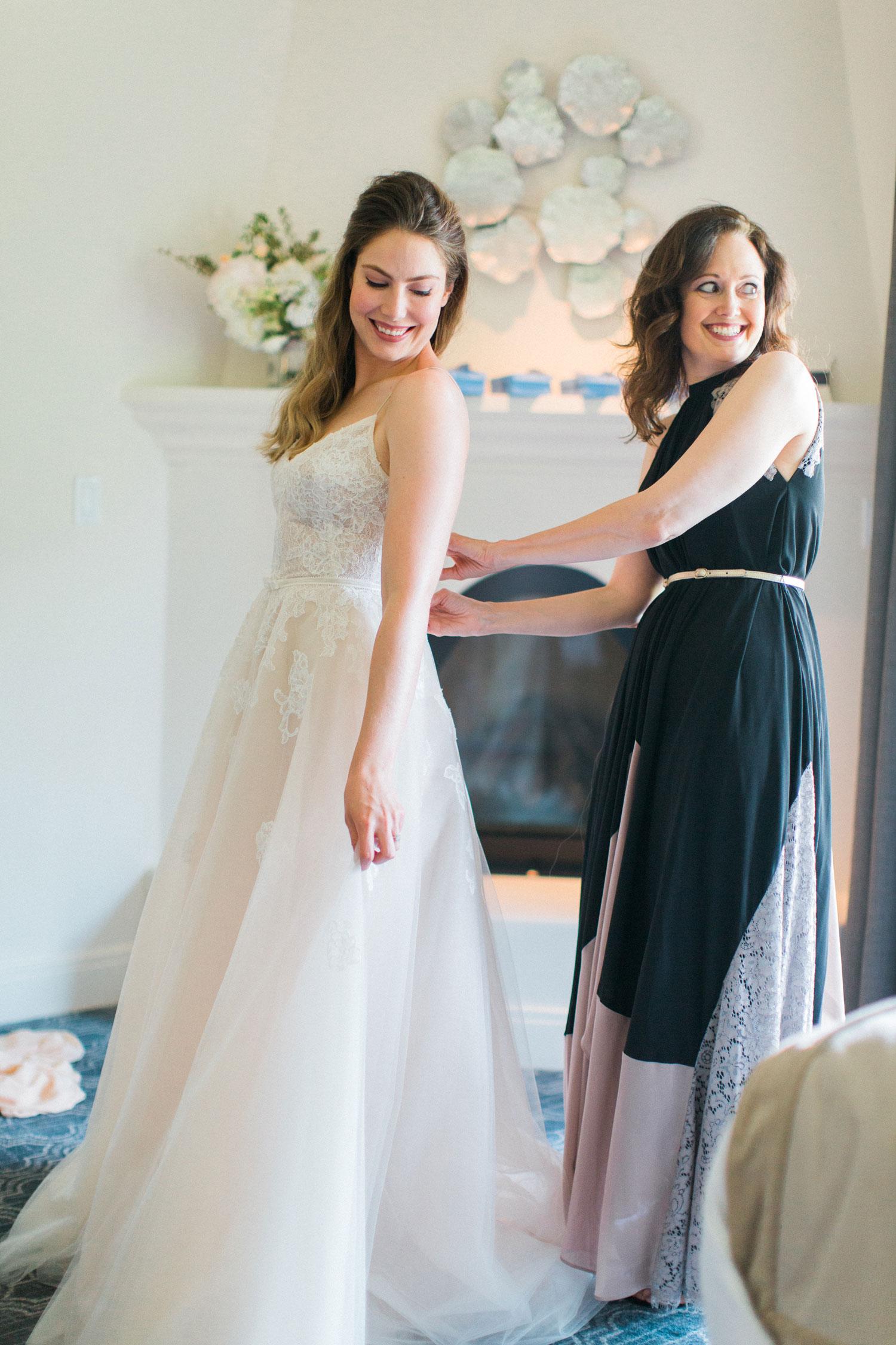 Maradee Wahl of Dear Maradee helping bride on wedding day bridal stylist duties