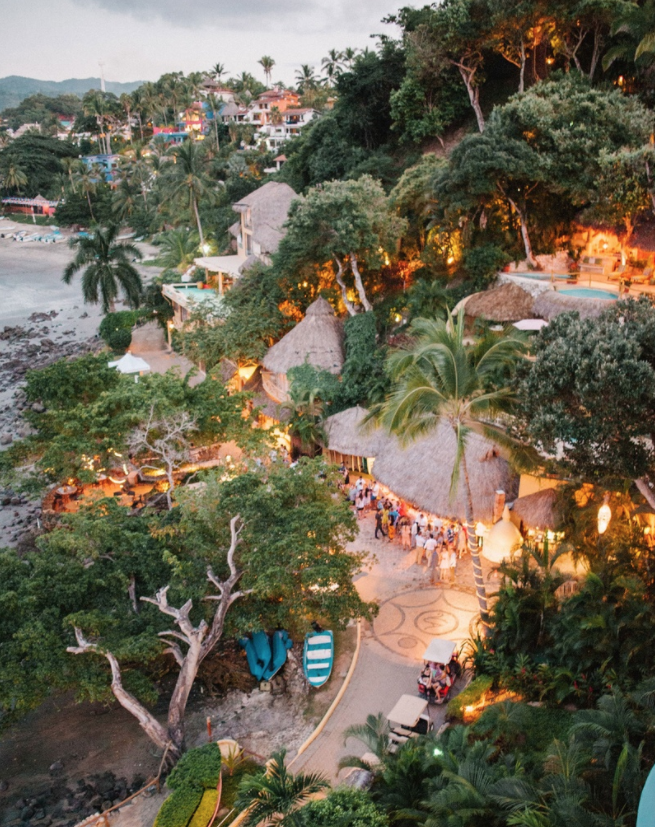 Aerial view of welcome party space rehearsal dinner at wedding in mexico destination wedding ideas